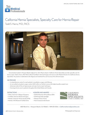 Dr. Harris Orange Coast Magazine 2014
