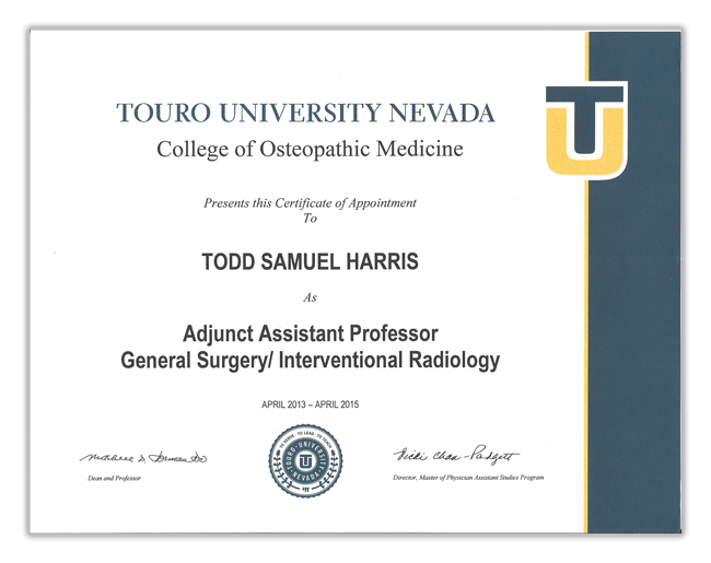 Touro University Professor Certificate